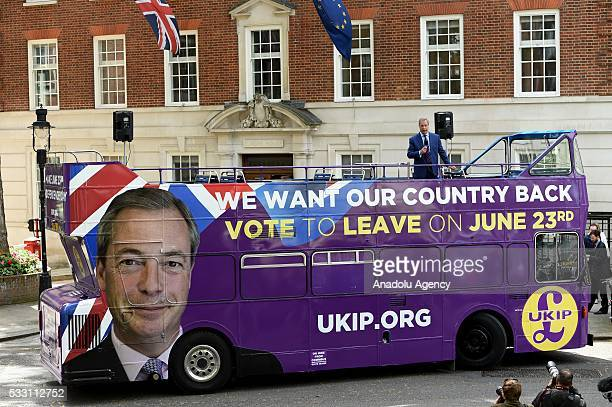 UKIP party leader Nigel Farage speaks to the media at the UKIP EU Referendum bus tour launch in Westminster London on May 20 2016
