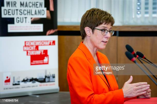 Party leader of the CDU Annegret KrampKarrenbauer attend a discussion event about the transition of the regions coal industryon August 25 2019...
