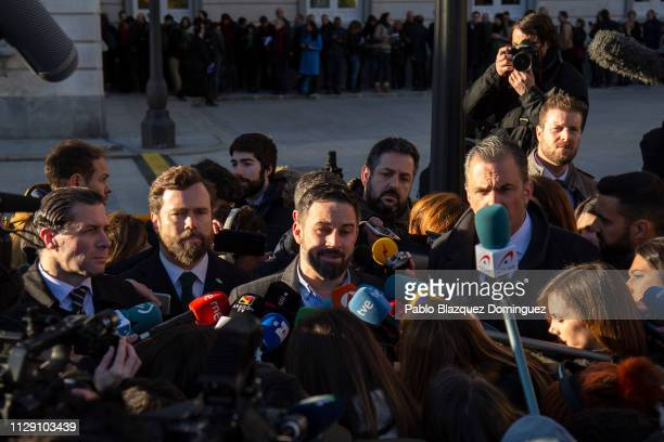 VOX party leader Santiago Abascal speaks to the press next to the Supreme Court before the start of the trial of Catalan separatist leaders on...