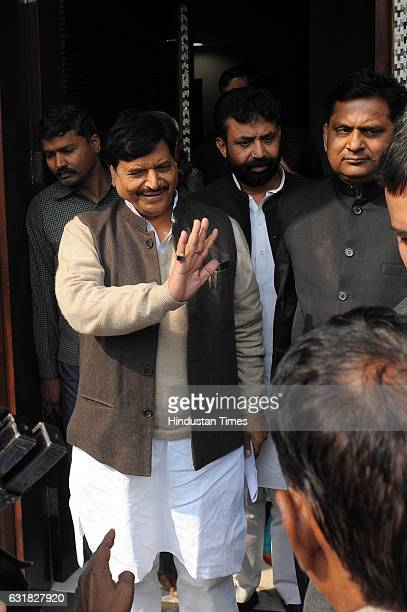 Party leader Shivpal Yadav at the residence of Mulayam Singh Yadav on January 16 2017 in Lucknow India Ahead of the election in Uttar Pradesh where...