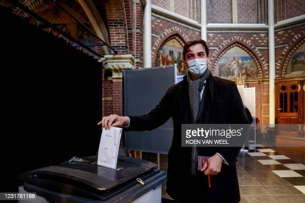Party leader Thierry Baudet casts his vote in the parliamentary elections in the Posthoornkerk, in Amsterdam on March 17, 2021. - Polling stations...