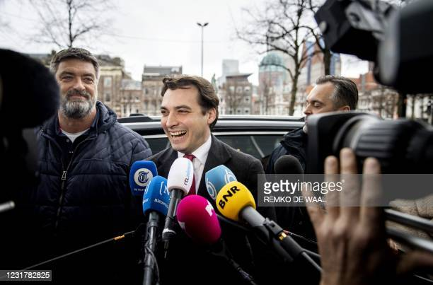 Party leader Thierry Baudet of Forum for Democracy answers journalists' questions as he arrives at the Binnenhof, the venue of Netherlands'...