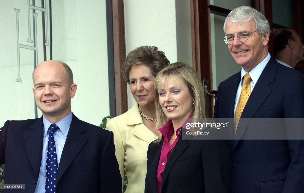 Party leader William Hague (left) and his wife Ffion (third from left) with former leader John Major and his wife Norma at the Conservative Party Conference, Bournemouth, United Kingdom, 2nd October 2000.