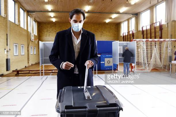Party leader Wopke Hoekstra casts his vote in the 2021 Dutch general elections in Bussum on March 17, 2021. - Polling stations opened on the last of...