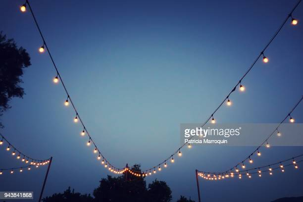 Party lights at outdoor wedding reception