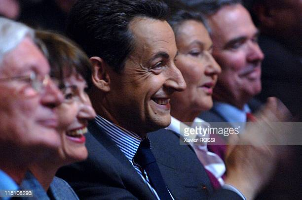 """Party meeting to support the """"Yes"""" vote in the referendum on the European constitution in Paris, France on May 12, 2005 - French PM Jean Pierre..."""