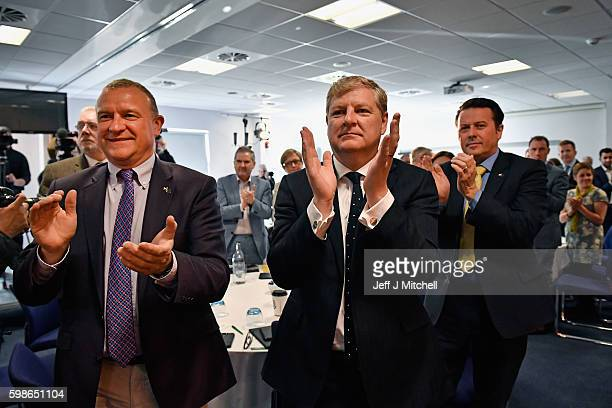 Party members applaud SNP leader and First Minister of Scotland Nicola Sturgeon at the launch of a listening exercise to gauge support for a second...