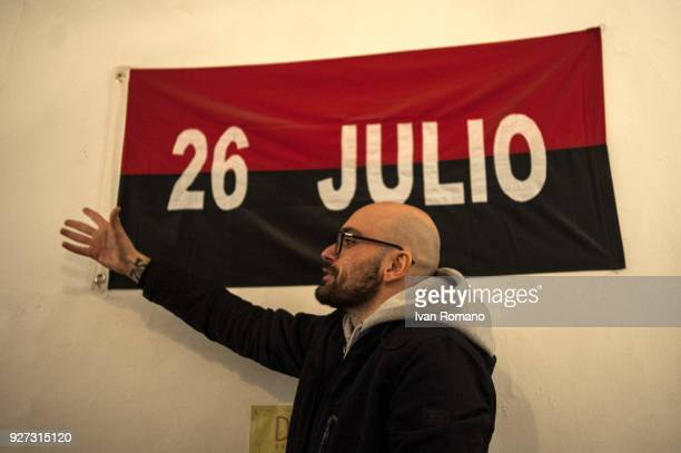 Party militants Power to the world within the former EX OGP social center during operation of counting ballot papers on March 4 2018 in Caserta Italy...