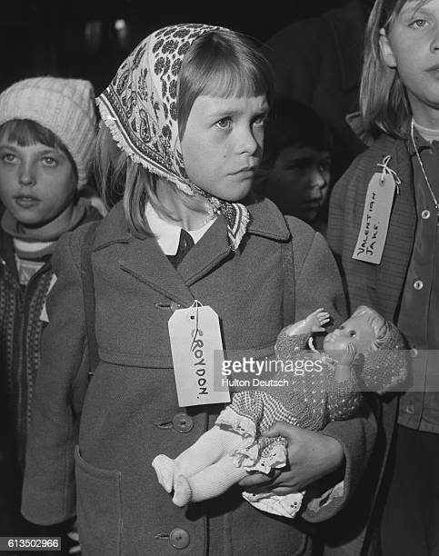 A party of about 90 children from families living in the Finkenwerder refugee camp Hamburg arrive at Liverpool Street Station