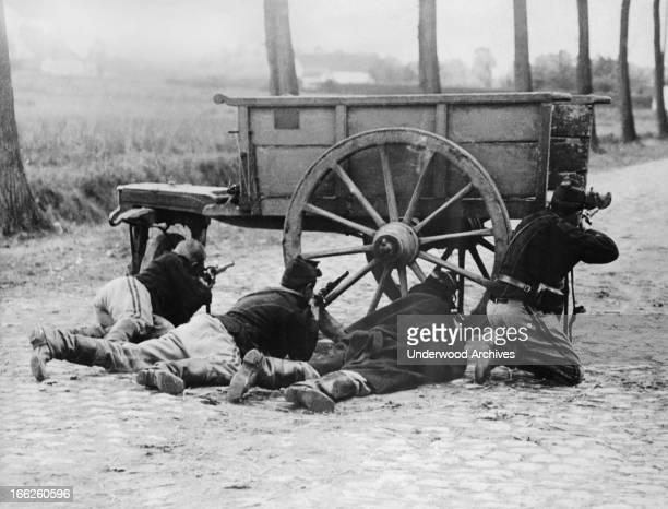 A party of Belgian infantrymen defending Antwerp aginst the Germans Antwerp Belgium circa 1914