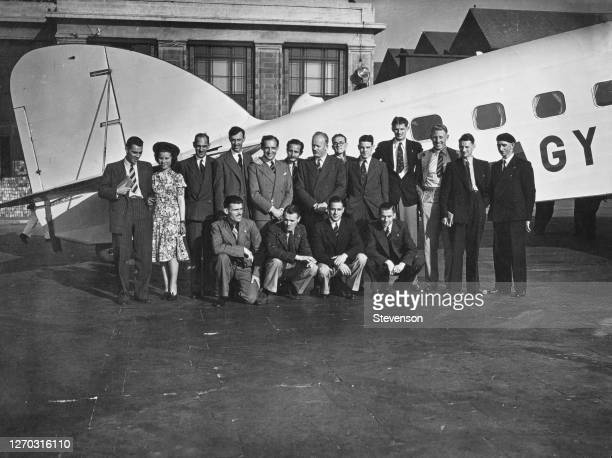 Party of British athletes leave Croydon Airport in London for Cologne in Germany, 19th August 1939. They are headed by hurdler Lord Burghley.