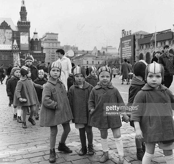 Party of Russian schoolchildren on a school trip in Moscow's Red Square.