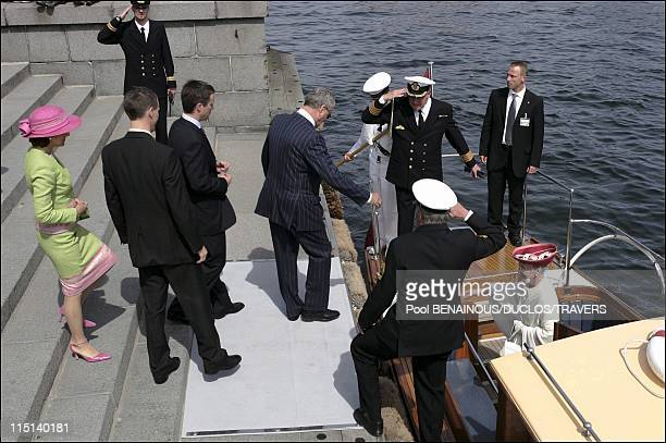 Party on the Royal yacht for the wedding of Prince Frederik and Mary Donaldson in Copenhagen Denmark on May 13 2004 Alexandra Joachim Frederik Queen...