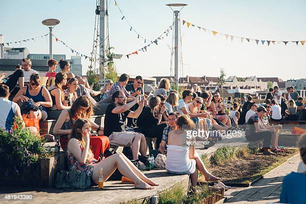 party people on the berlin rooftops - kreuzberg stock photos and pictures