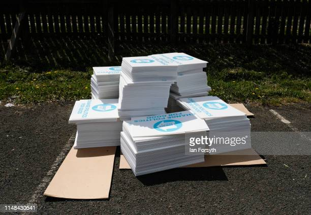 Party placards are stacked up for supporters ahead of a Brexit Party campaign event at Rainton Meadows Arena on May 11 2019 in Houghton Le Spring...