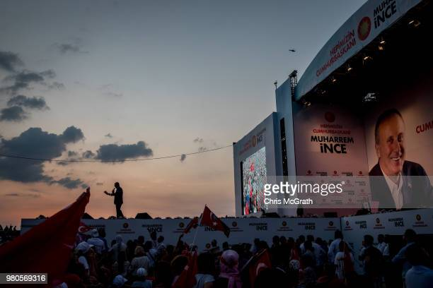 Party presidential candidate Muharrem Ince speaks to supporters during a campaign rally on June 21 2018 in Izmir Turkey Presidential candidates from...