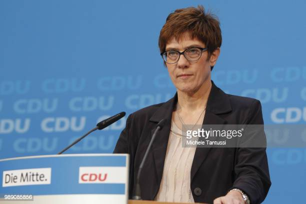 CDU party Secretary General Annegret KrampKarrenbauer speaks during a statement after a meeting of the CDU board at CDU headquarters on July 1 2018...