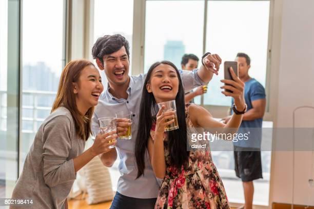 Party Selfie Asian Friends