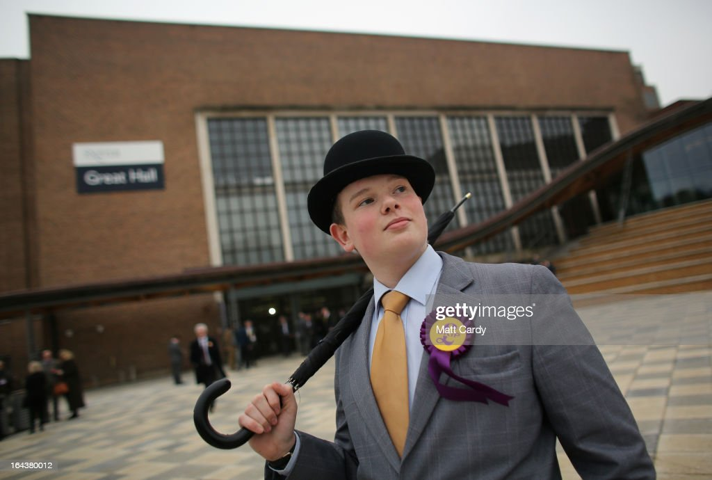 A UKIP party supporter poses for a photograph at the UKIP 2013 Spring Conference being held in the Great Hall, Exeter University on March 23, 2013 in Exeter, England. Buoyed by recent successes including the by election in Eastleigh where they came second, the UK Independence party is claiming it is the only one with alternative policies and a vote for UKIP is no longer just a protest vote.
