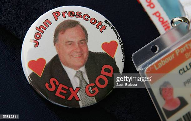 A party supporter wears a badge depicting Britain's Deputy Prime Minister John Prescott during the annual Labour Party Conference on September 28...