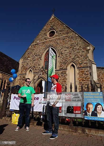 Party supporters prepare to hand out voting information in the electorate of Adelaide on election day on September 7 2013 in Adelaide Australia...