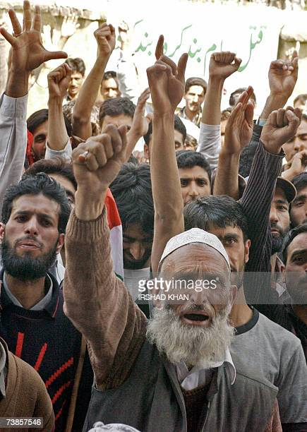Party supporters shout proPakistan slogans during a welcoming ceremony for senior separatist leader and chairman of the Jammu and Kashmir National...