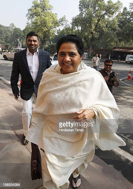 Party Supremo Mayawati during Winter session of Parliament House on December 12 2012 in New Delhi India