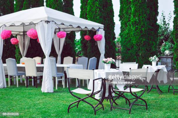 Party tables in garden