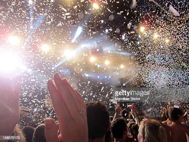 party time at a concert - flashing at concerts stock photos and pictures