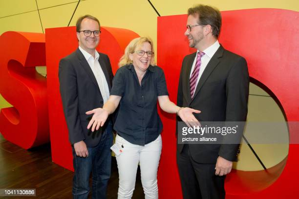 Party whip of the SPD in Bavaria Markus Rinderspacher Bavarian SPD general secretary Natascha Kohnen and the party chairman of the SPD in Bavaria...