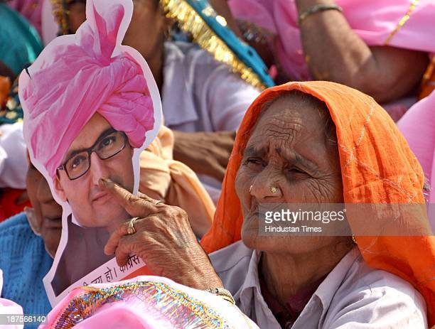 Party workers and supporters during Haryana Shakti Rally at Gohana on November 10 2013 in Sonepat India The Shakti Rally is expected to highlight the...