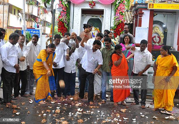AIADMK party workers lead by the Tamil Nadu minister for social welfare P Valarmathi celebrating the acquittal of their party Supremo J...