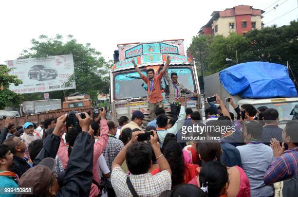 MNS party workers protest against Heavy Vehicles which entering in Kalyan city near Patri Pool on July 14 2018 in Mumbai India