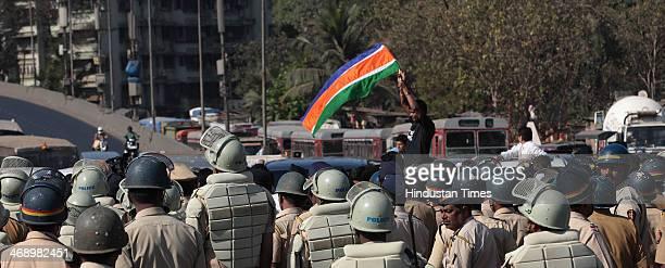 MNS party workers protested as Mumbai Police blocked Highway before detaining MNS Chief Raj Thackeray on Chunabhatti Bridge before Rasta Roko on...