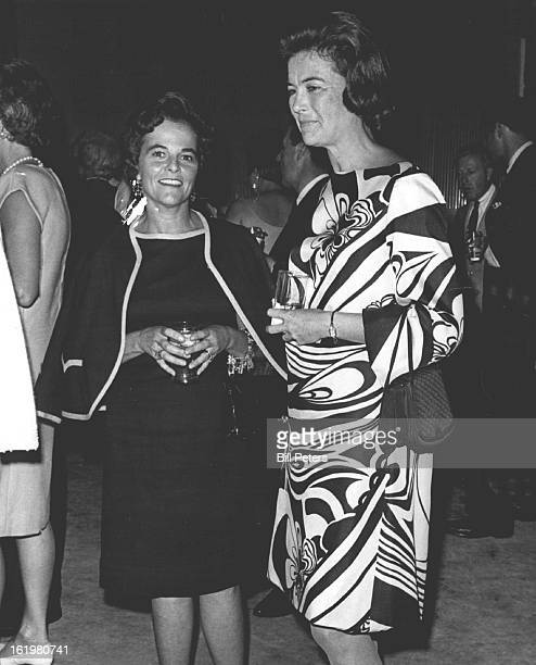 JUL 14 1967 Partygoers At Opening Jazz Festival Mrs Paul Baxter Lanius Jr left talks with her sister inlaw Miss Mary Lanius during cocktail buffet...