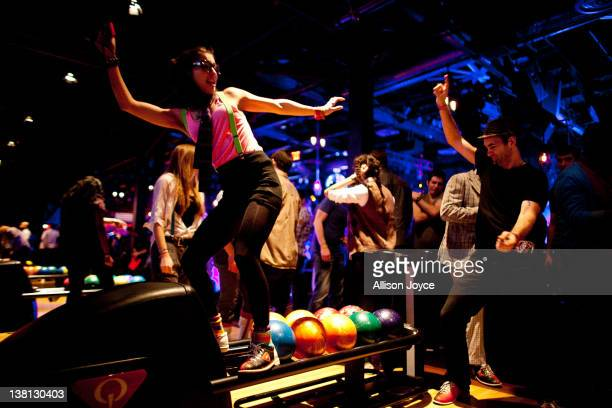 Partygoers celebrate at Brooklyn Bowl's weekly Soul Train inspired party on February 02 2012 in Brooklyn New York City Don Cornelius the creator of...