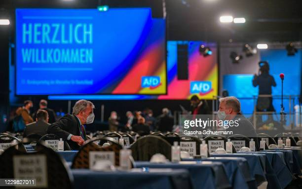 Party-member react prior the AfD party congress during the second wave of the coronavirus pandemic on November 28, 2020 in Kalkar, Germany. The AfD...