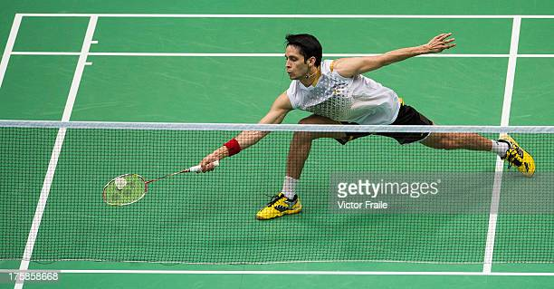Parupalli Kashyap of India in action during his match against Du Pengyu of China during the Badminton World Championships at the Tianhe Gymnasium on...