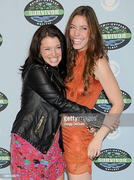 Parvati Shallow and Amanda Kimmel arrive at Survivor 10 Year Anniversary Party at CBS Television City on January 9 2010 in Los Angeles California