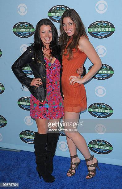 Parvati Shallow and Amanda Kimmel arrive at the CBS 'Survivor' 10 Year Anniversary Party on January 9 2010 in Los Angeles California