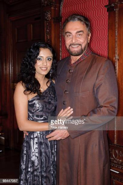 Parveen Dusanj and Kabir Bedi attend gala dinner in aid of the 2008 Mumbai terror victims hosted by the DVK Foundation at Kensington Palace on...