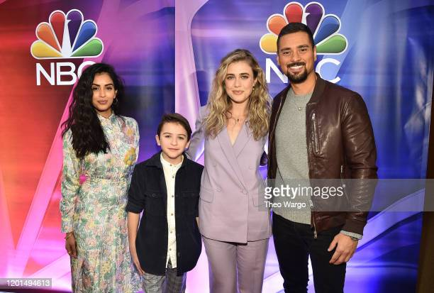 Parveen Kaur Jack Messina Melissa Roxburgh and JR Ramirez from Manifest attend the NBC Midseason New York Press Junket at Four Seasons Hotel New York...