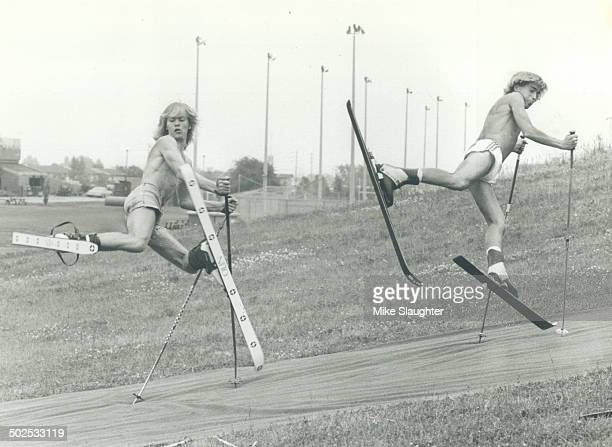Pas de deux Felix Veski 17 left and Art Bronkhorst 19 perform what is known as a thumper in the developing art of ballet skiing Summer dryland skiing...