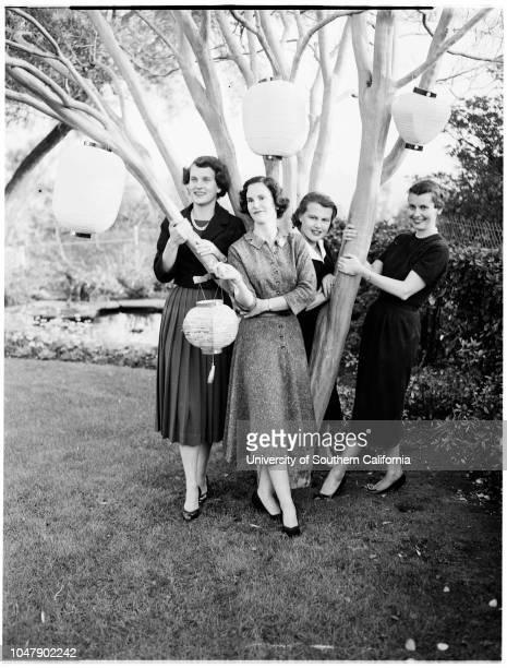 Pasadena ball 28 January 1958 Mrs Charles B Ames JuniorMrs Jerry HarrisMrs Durward HowesMrs Stuart MacLarenCaption slip reads 'Photographer Wilson...