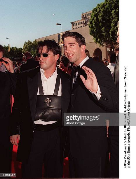 Pasadena Ca Matt Le Blanc and David Schwimmer from 'Friends' at the 50th Anniversay Emmy Awards