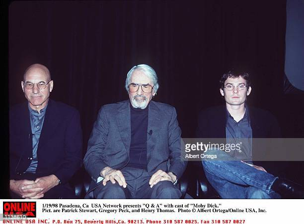 Pasadena Ca USA Network presents 'Q A' with cast of 'Moby Dick' Pict are Patrick Stewart Gregory Peck and Henry Thomas