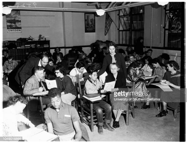 Pasadena City College foreign students receive instruction in English 11 March 1952 Otto Gminder BavarianKathy Corwin AmericanMiss Gertrude McCoy...