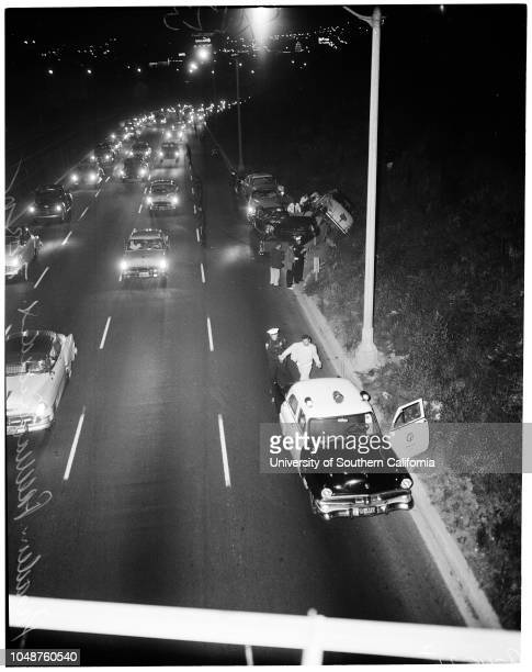 Pasadena freeway accident, 22 July 1955. 4 cars involved;Mrs Louise Misemer;Louis J Pozzo;Louis Perez -- 19 years . .;Caption slip reads:...