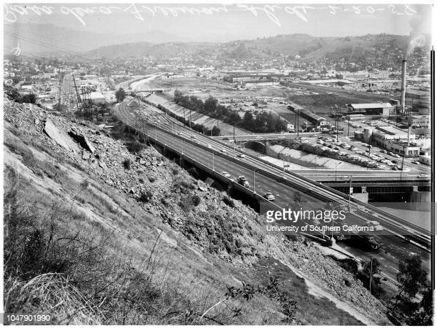 Pasadena freeway landslide, 20 February 1958. General views;Bulldozer driver Bob Baker.;Caption Slip reads: 'Photographer: Paegel. Date: ....