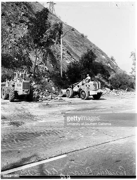 Pasadena freeway landslide, General views, Bulldozer driver Bob Baker, Pasadena, California, February 20, 1958.